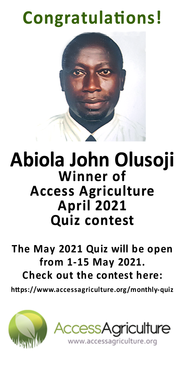 Abiola John Olusoji  - Winner of Access Agriculture April 2021 Quiz contest