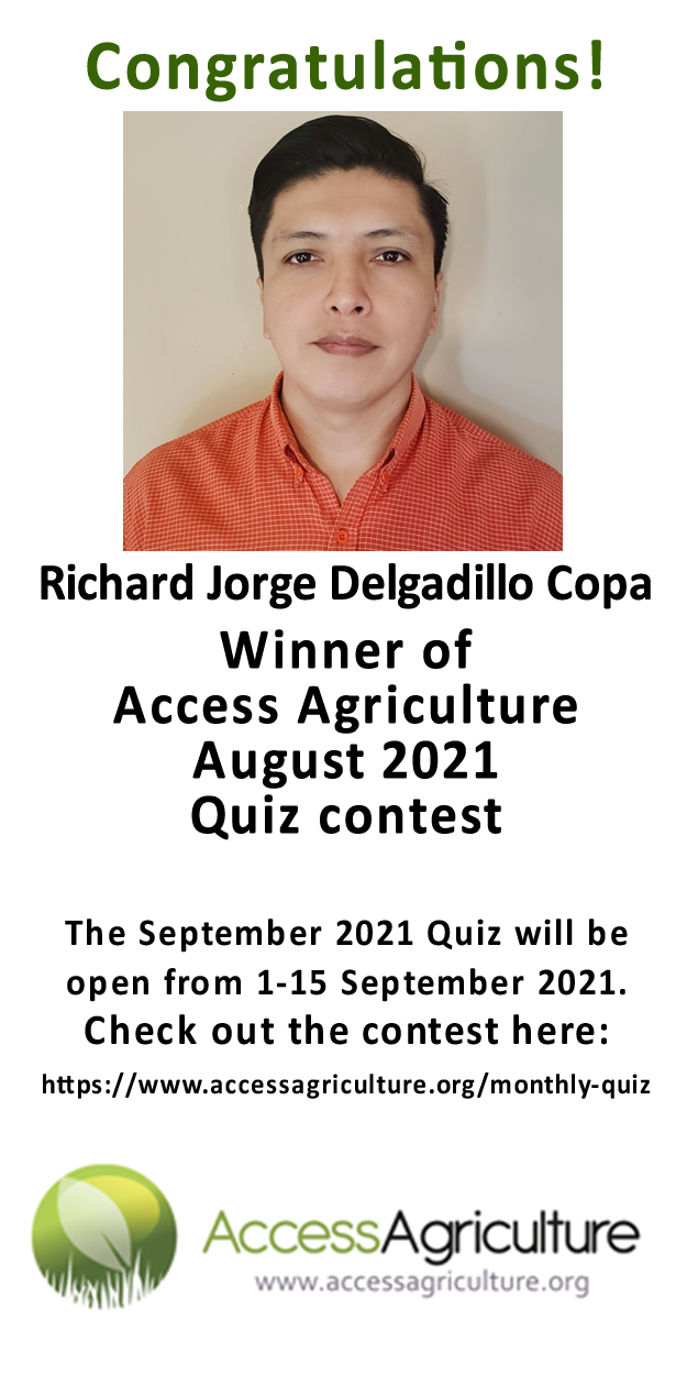 Richard Jorge Delgadillo Copa - Winner of Access Agriculture August 2021 Quiz contest