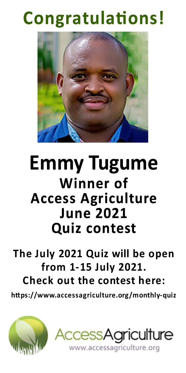 Emmy Tugume - Winner of Access Agriculture June 2021 Quiz contest