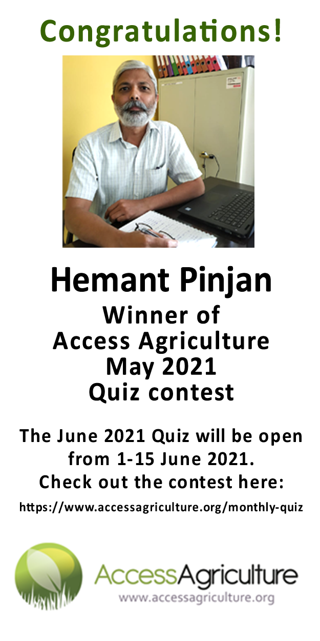 Hemant Pinjan - Winner of Access Agriculture May 2021 Quiz contest