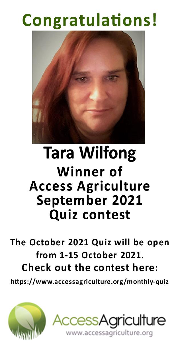 Tara Wilfong - Winner of Access Agriculture September 2021 Quiz contest