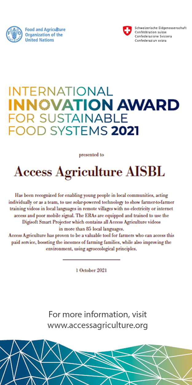 Access Agriculture wins International Innovation Award for Sustainable Food and Agriculture